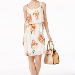 NY Collection Women's Pleated Floral Dress
